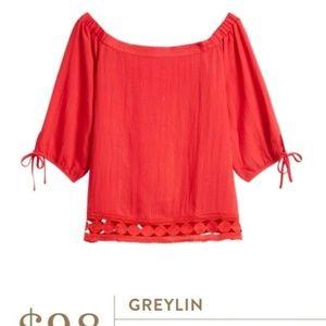 Greylin Akela Red Off Shoulder Crochet Peasant Top